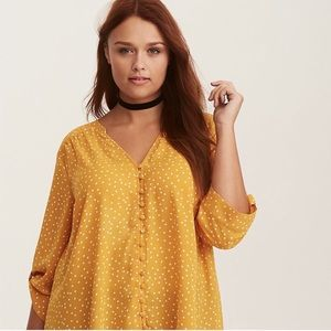 Torrid Button Front Yellow Dot Print Blouse